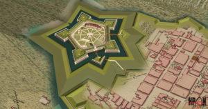 Реконструкція Бродівського замку (автор В.Чоп) на фрагменті карти кін. XVIII ст.