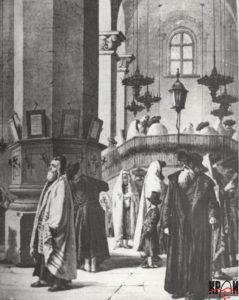 Інтер'єр синагоги. Гравюра ХІХ ст.